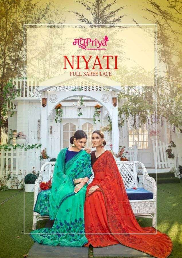 Madhupriya Niyati Fancy Chiffon Saree Catalog Wholesale price
