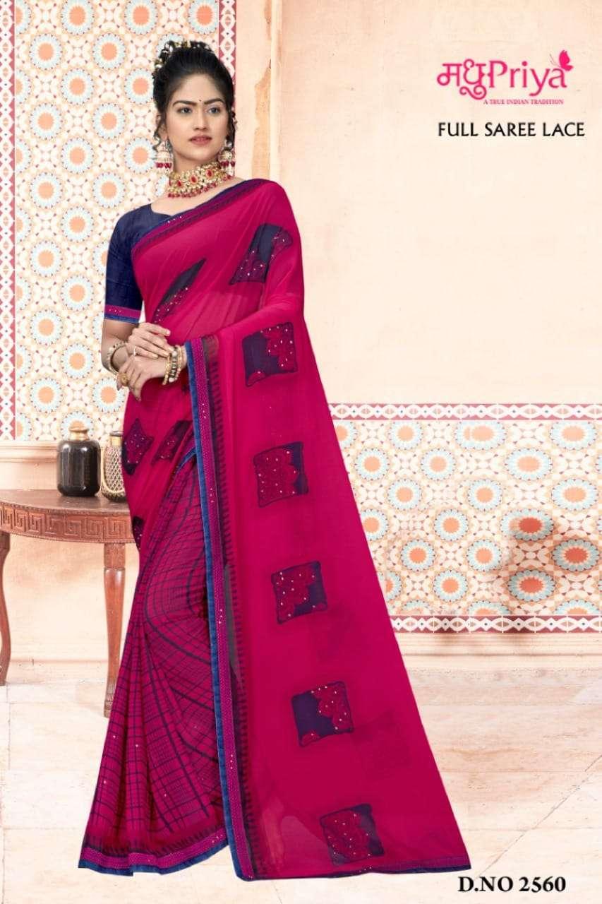 Madhupriya Ojasvi Fancy Plain Georgette Saree Catalog Supplier