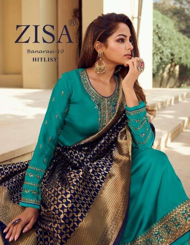 Meera Trends Zisa Banarasi Vol 10 Hitlist Banarasi Dupatta Straight Suit Collection