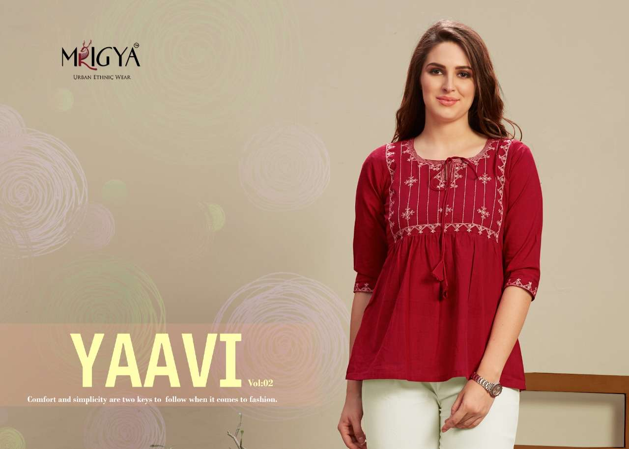 Mrigya Yaavi Vol 2 Office Wear Embroidery Short Tops Collection
