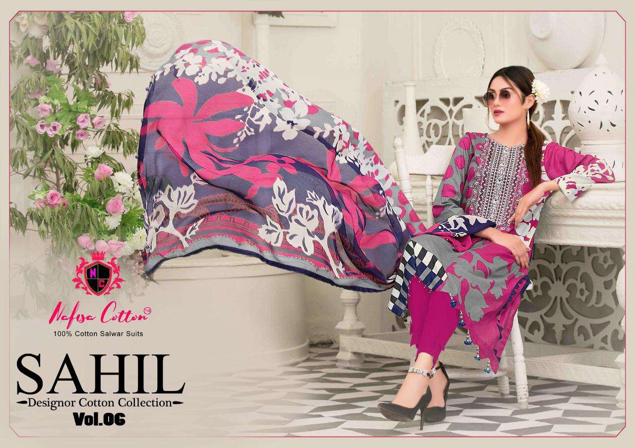Nafisa Cotton Sahil Vol 6 Printed Karachi dress Material Catalog Supplier
