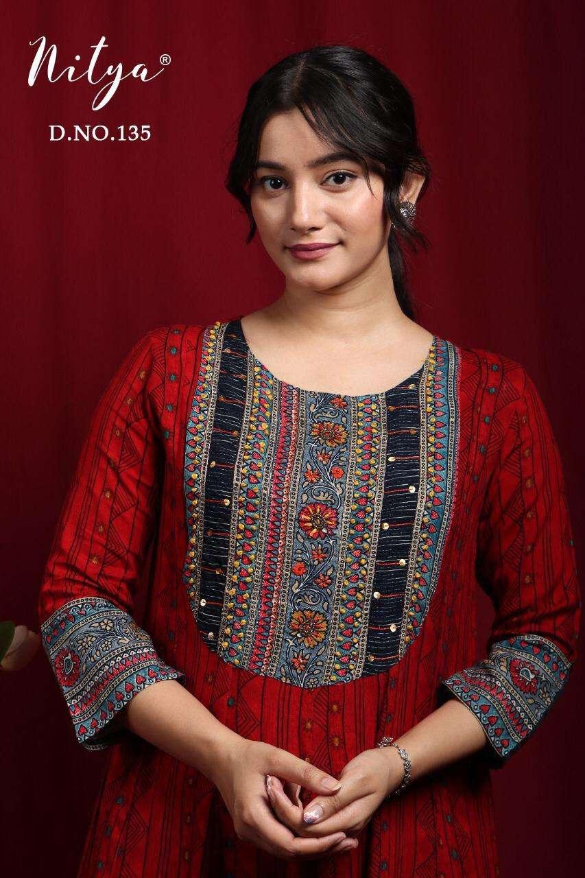 Nitya Design No 135 Full Flaired Rayon Kurti Gown Collection