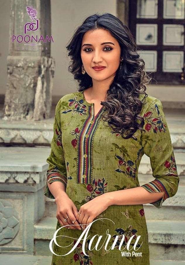 Poonam Aarna fancy Rayon Kurti Pent Set Catalog Wholesaler