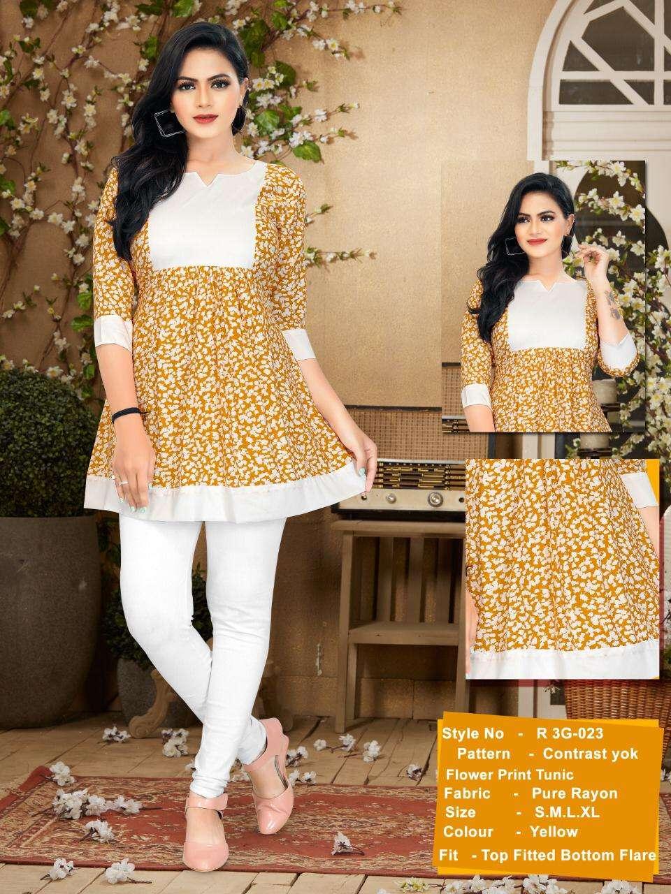 R3G Fashion Tunic Vol 3 0022 to 0031 Fancy Short Tunics Catalog Supplier