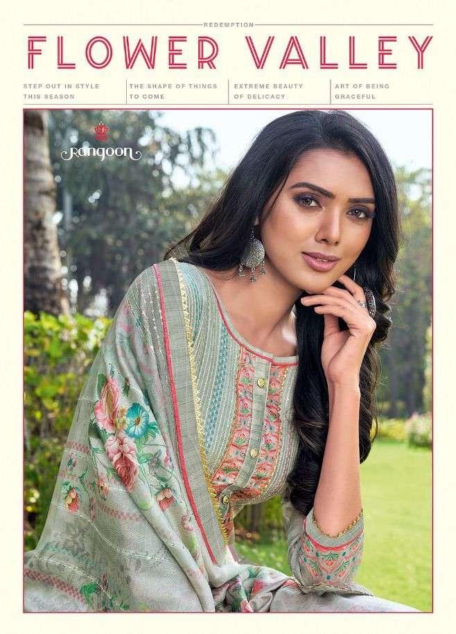 Rangoon Flower Valley Designer Muslin Fabric Readymade Collection