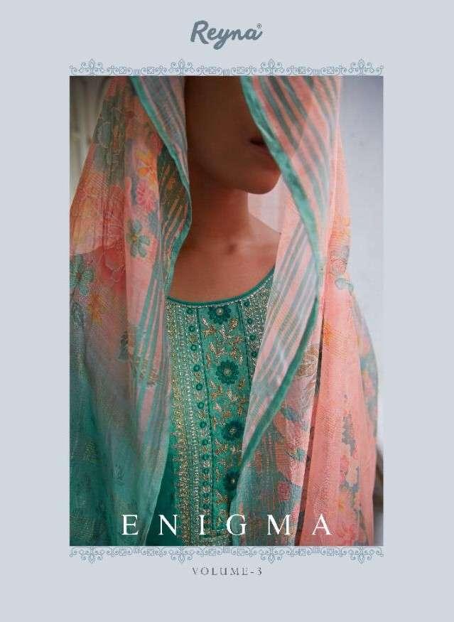 Reyna Fabrics Enigma Vol 3 Exclusive Designer Silk Salwar Suit Catalog Wholesaler