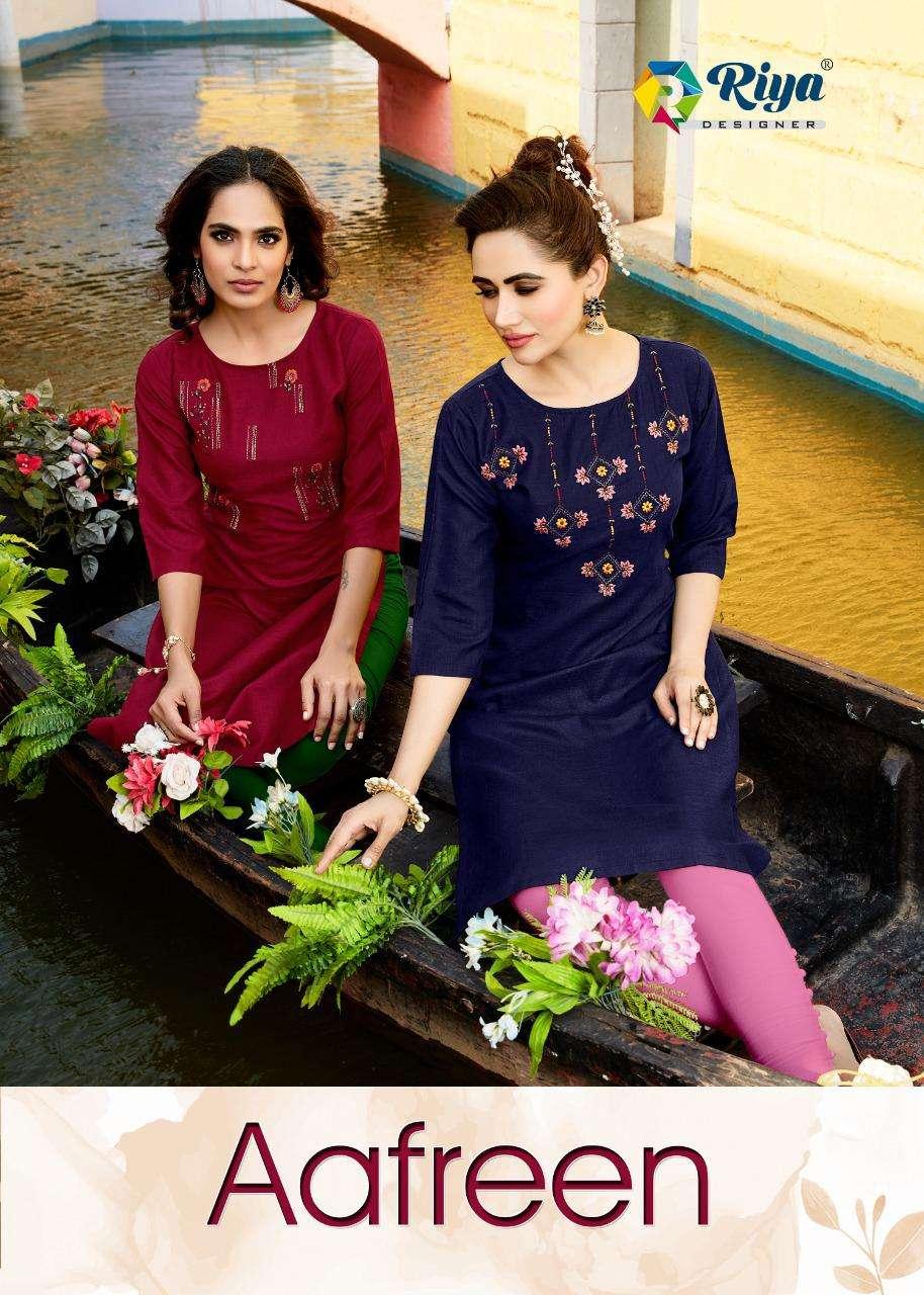 Riya Designer Aafreen Cotton Embroidery Kurti Catalog Wholesaler