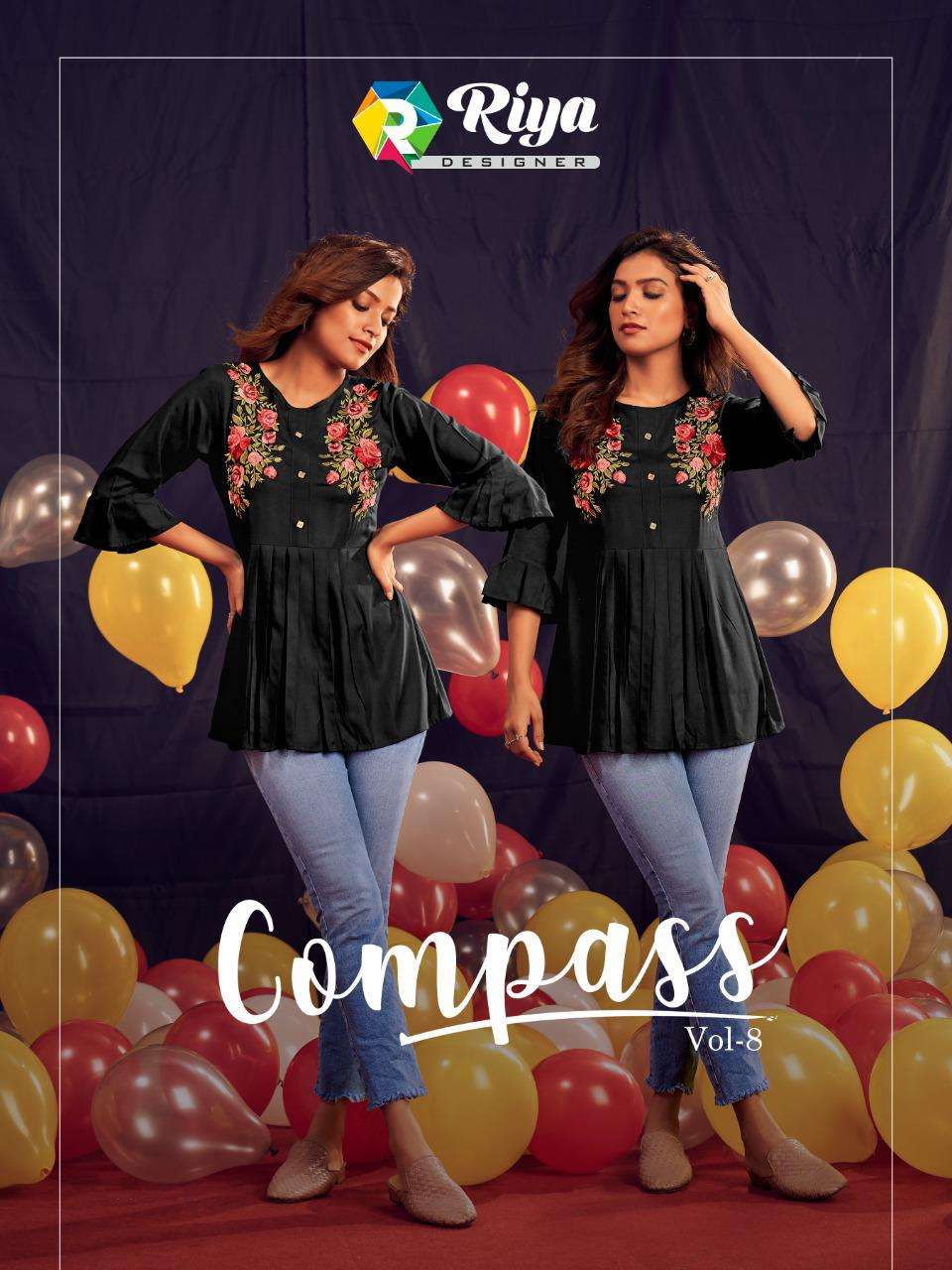 Riya Designer Compass Vol 8 Embroidery Short Tops new Collection
