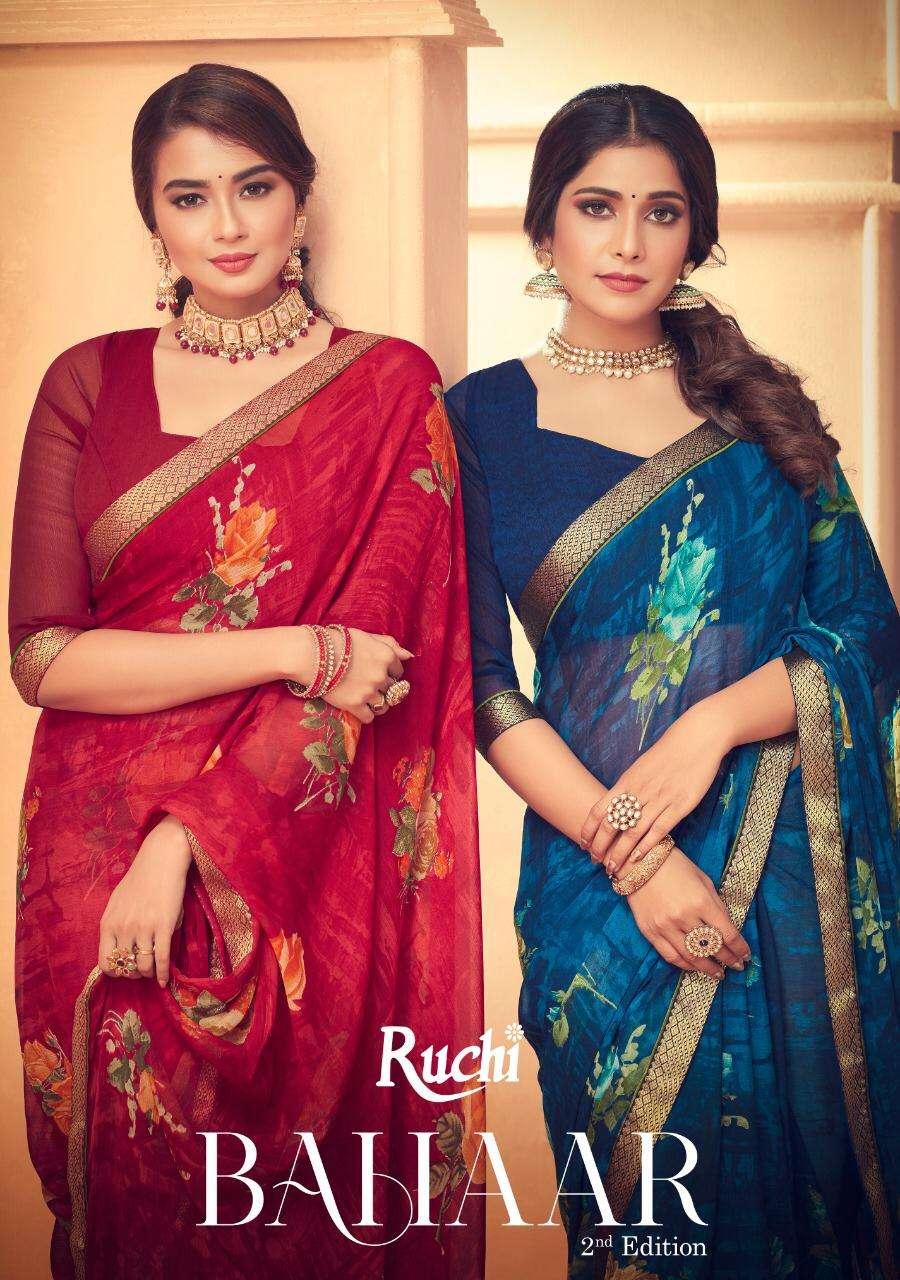 Ruchi Bahaar 2nd Edition Printed Chiffon Saree Catalog Wholesaler