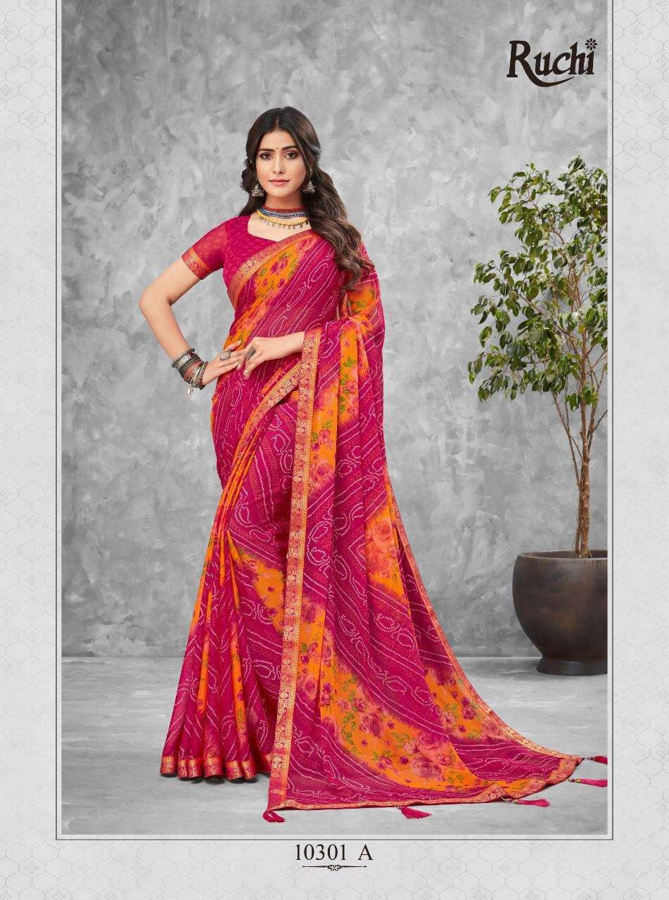 Ruchi Jalpari Printed Chiffon bandhani Print Saree New Catalog Buy online