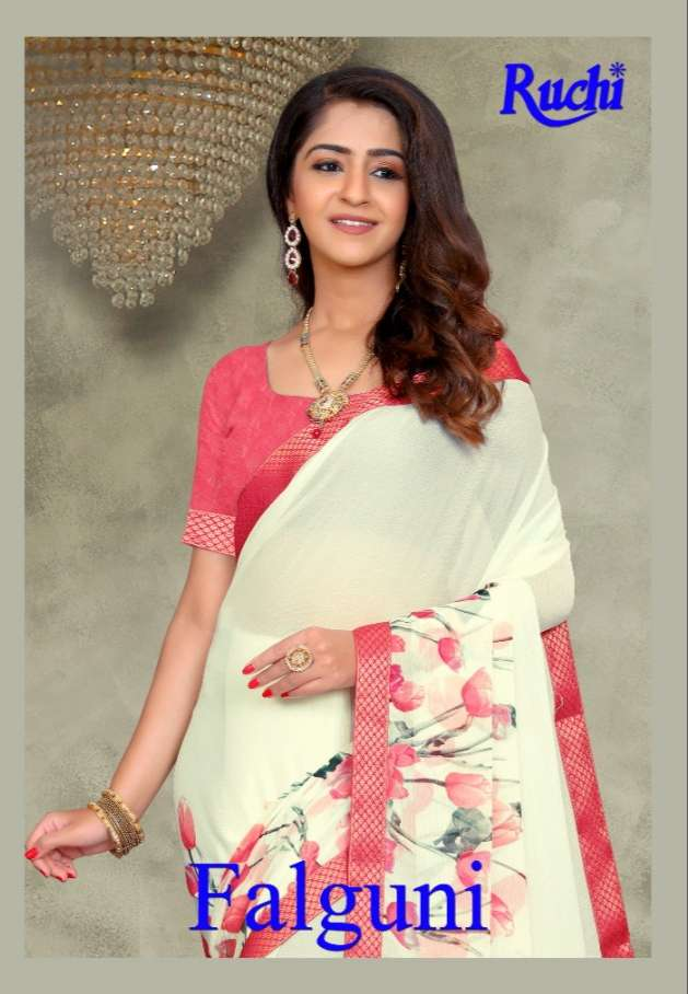 Ruchi Sarees Falguni Printed Chiffon Saree New Collection