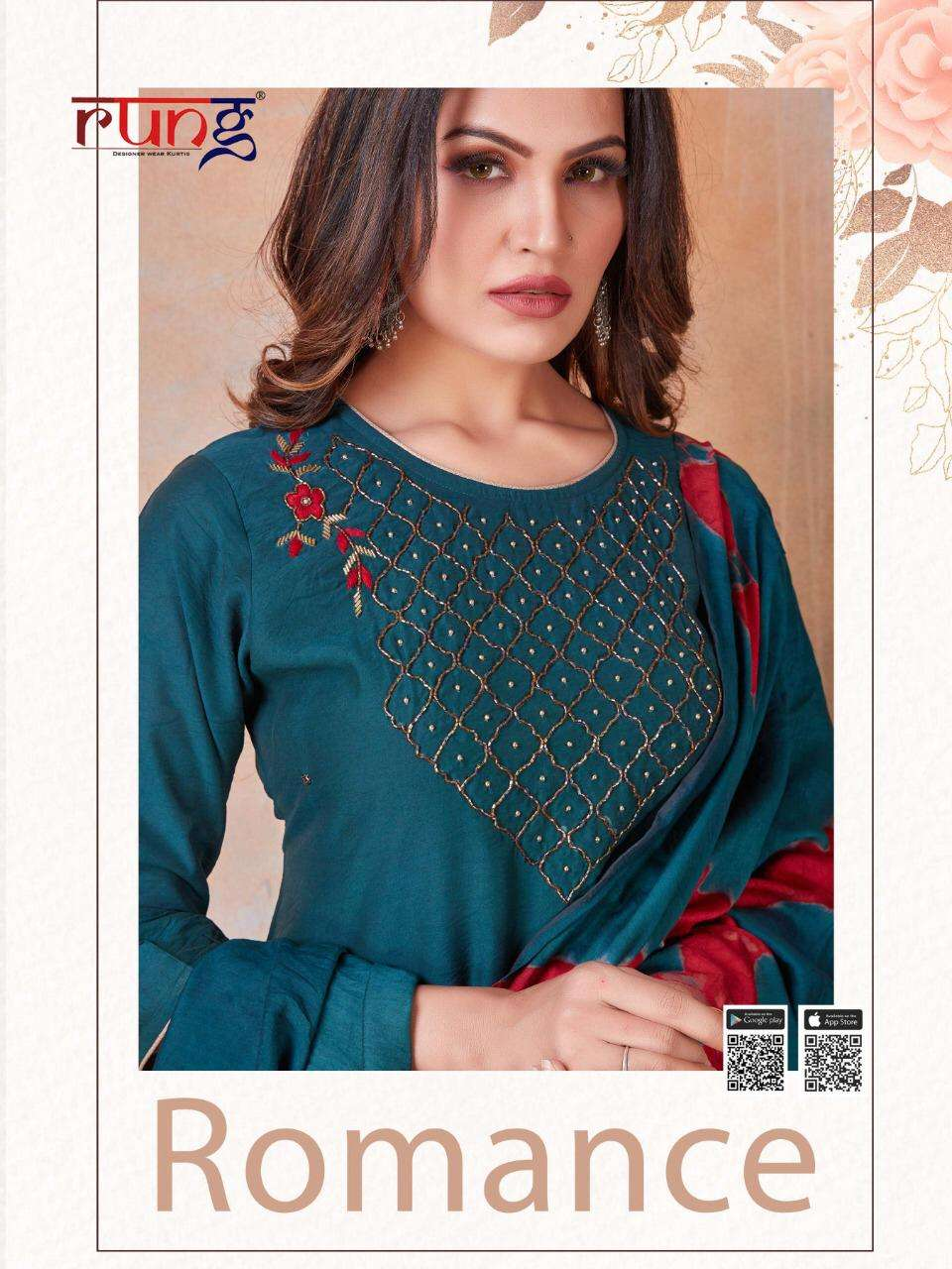 Rung Romance Fancy Silk Kurti With Dupatta Set Catalog Wholesaler