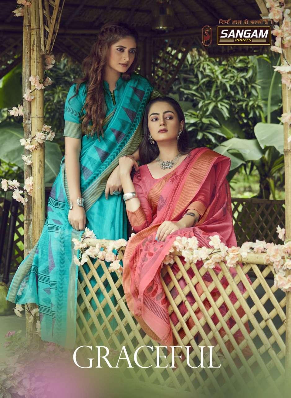 Sangam Graceful Fancy Cotton Indian Saree Catalog Buy Online