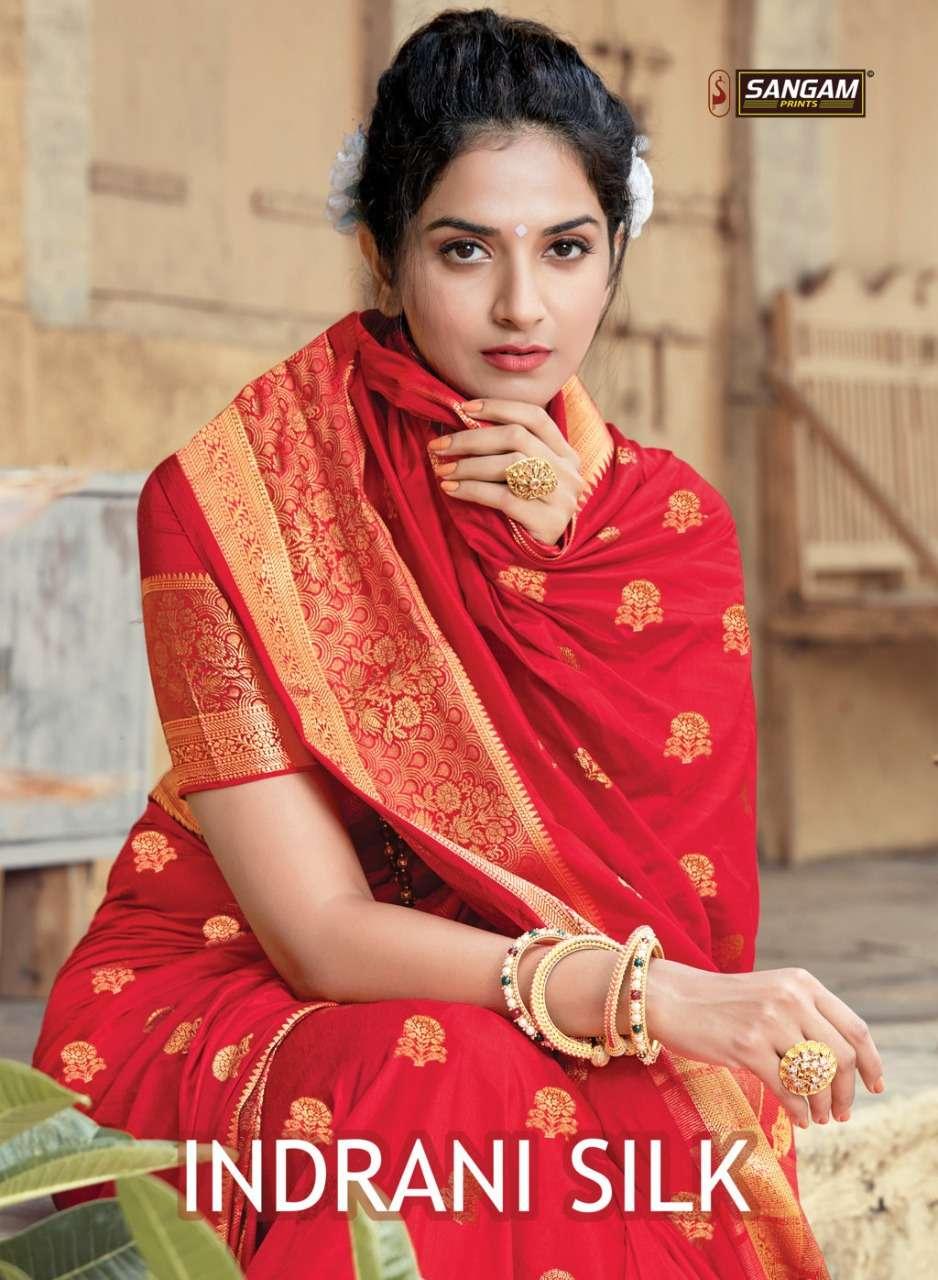 Sangam Indrani Silk fancy Saree Catalog Wholesale Supplier