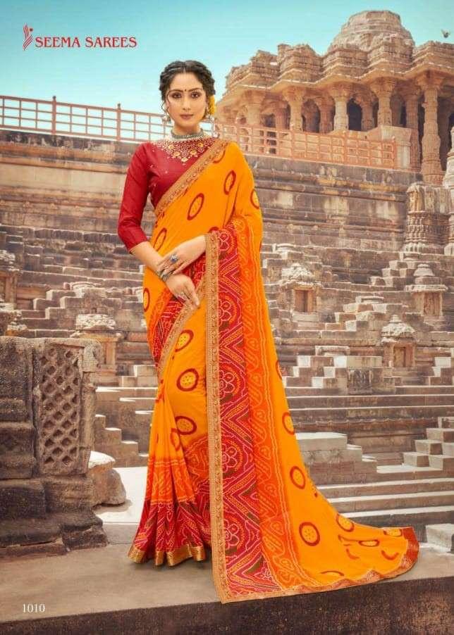 Seema Sarees Eesha fancy Bandhani Print Saree Catalog Supplier