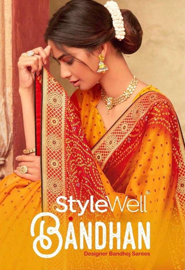 Stylewell Bandhan Bandhani Print Chiffon Saree New catalog Wholesaler