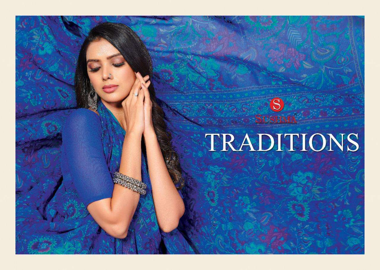 Sushma Traditions  Printed Crape Saree catalog Wholesale Supplier