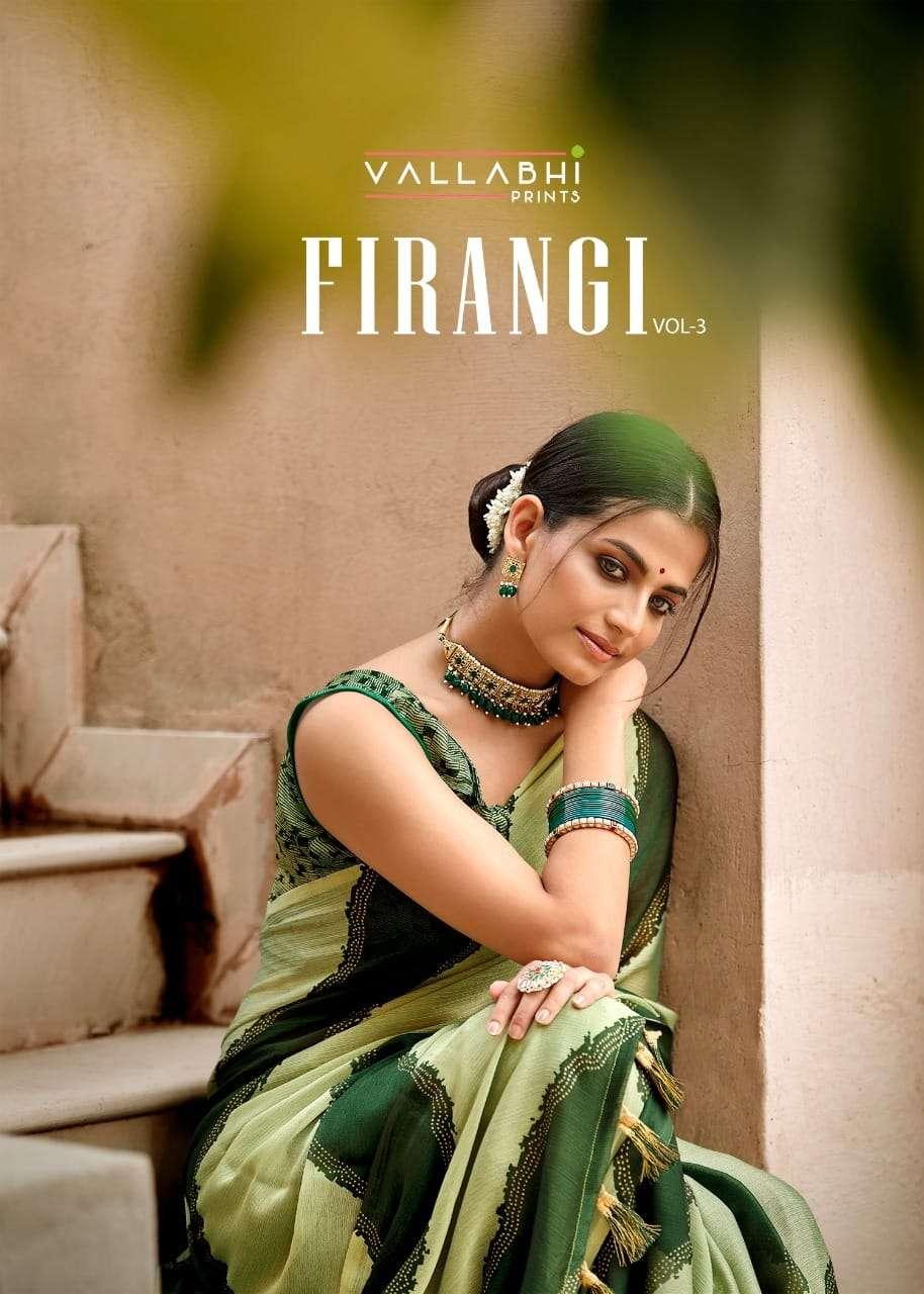 Vallabhi Firangi Vol 3 Western Style Chiffon Saree Colllection in Wholesale