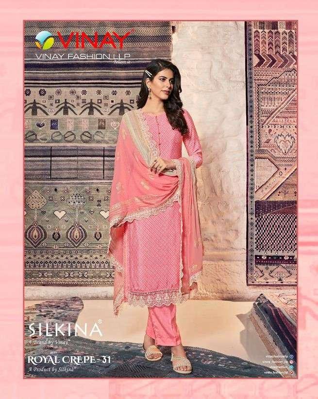 Vinay Fashion Silkina Royal Crepe Vol 31 Fancy Crepe Suit Catalog Wholesaler