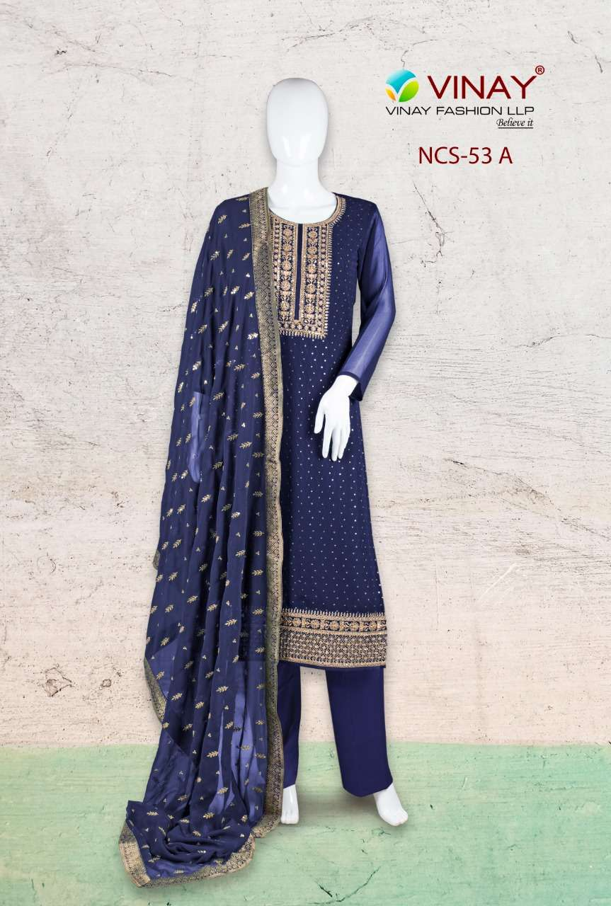 Vinay NCS 53 Georgette Embroidered Suit In Wholesale