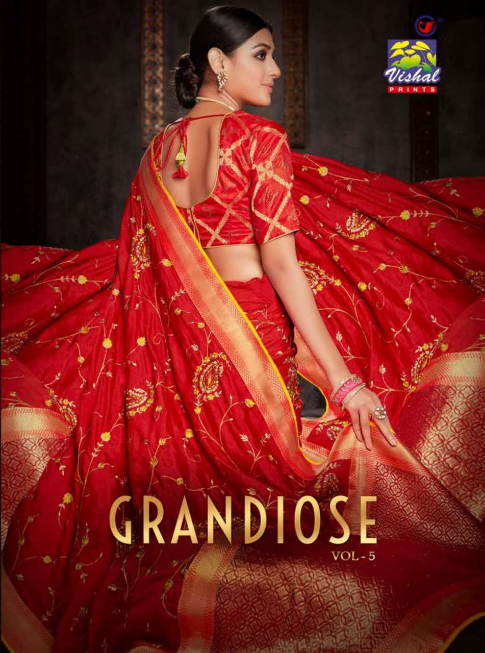 Vishal Grandiose Vol 5 Heavy Work Designer Saree Collection at Best Rate