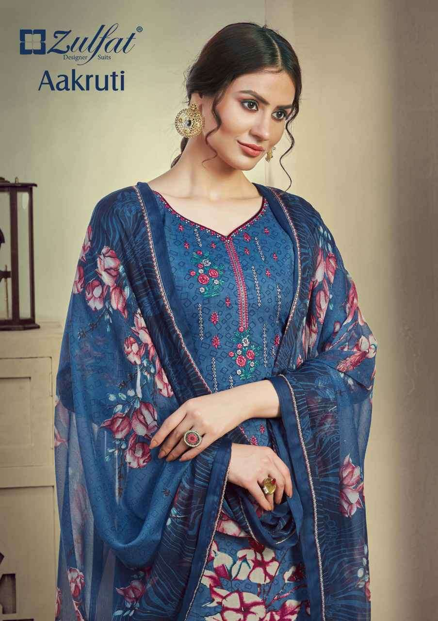 Zulfat Designer Aakruti Cotton Suit Fancy Embroidery Wholesale Salwar Suit