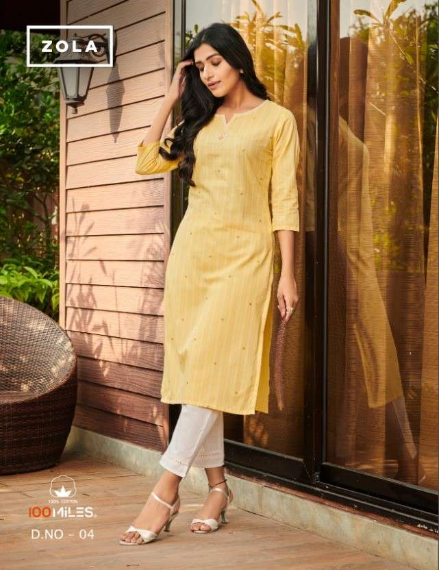 100 Miles Zola Embroidery Cotton Kurti Catalog Supplier at best Rate