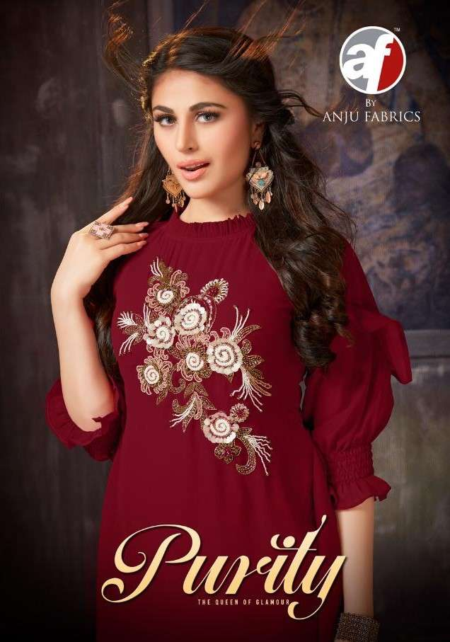 AF Stock Out Purity Vol 1 By Anju Fabric Stylish Readymade Kurti Pents Set Catalog Supplier