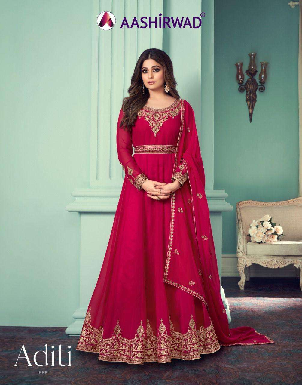 Ashirwad Aditi Designer Anarkali Party Wear Dress Catalog Supplier in Surat