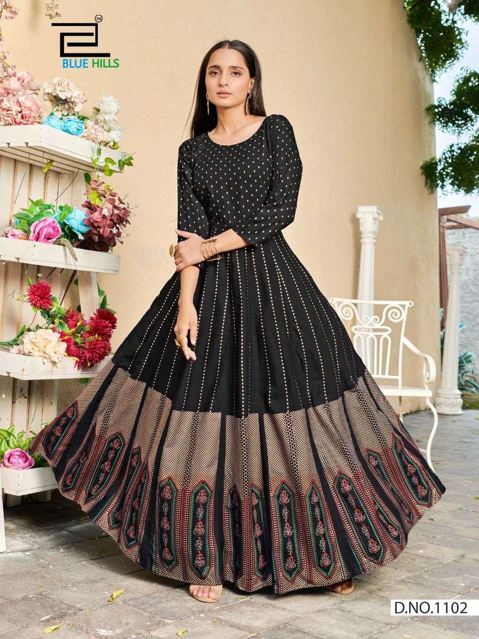 Blue Hills Poshak Vol 1 Long kali Style Rayon Kurti Gown Catalog Wholesale Price