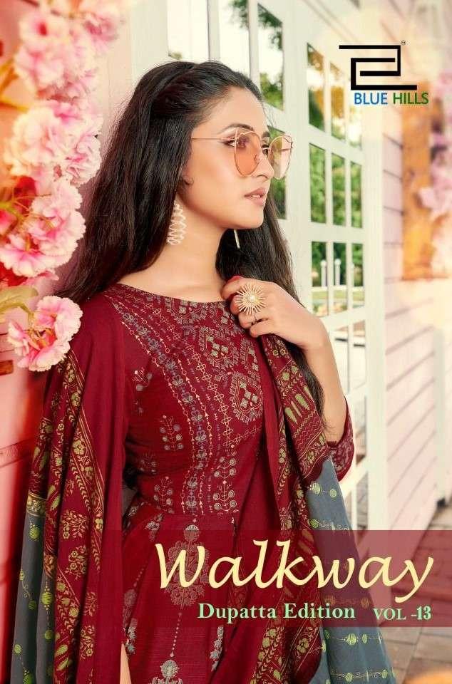 Blue Hills Walkway Vol 13 Designer Kurti Gown Dupatta Set Catalog Supplier
