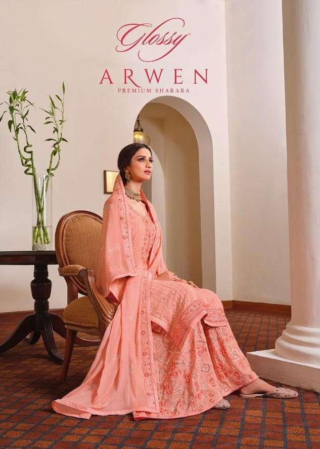 Glossy Arwen Plazzo Sharara Style Party Wear Salwar kameez Catalog Wholesale price
