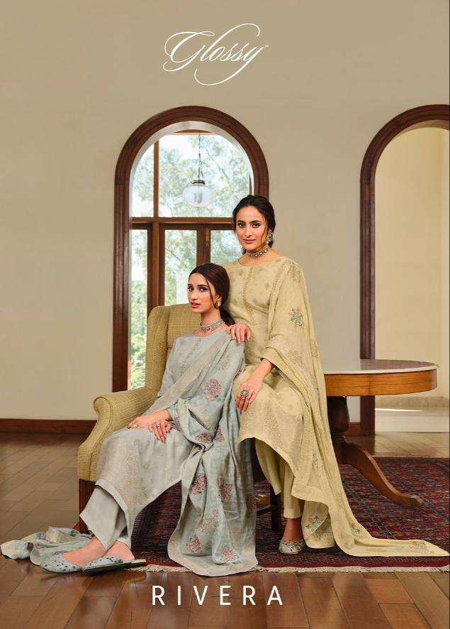 Glossy Rivera Dola jacquard Party Wear Salwar Kameez new Catalog in Wholesale Price