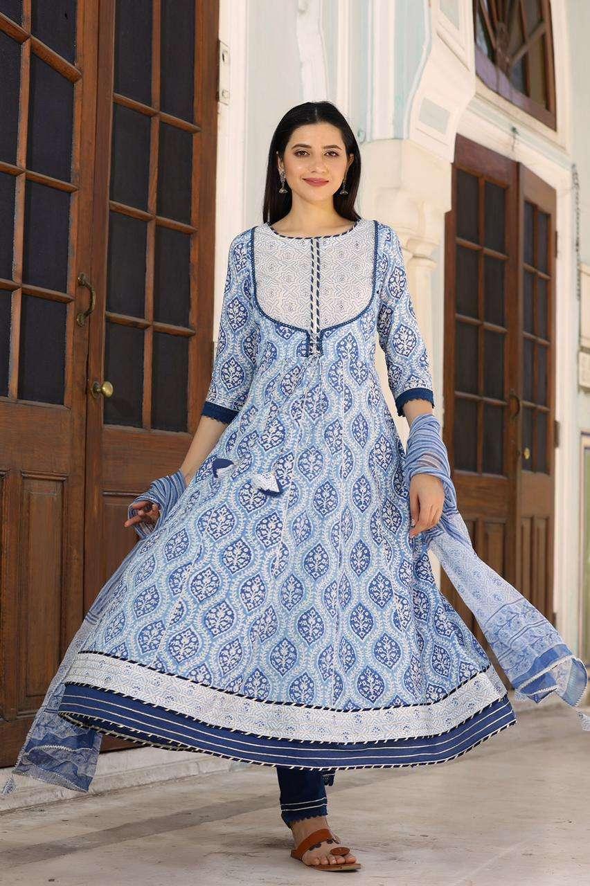 Nitya 146 Fancy Anarkali Kurti Bottom Dupatta Set new Size Set designs at Best Rate