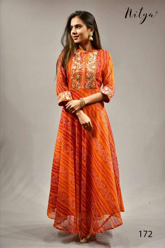 Nitya 172 Designer Bandhani Print Georgette Kurti Gown catalog Wholesaler