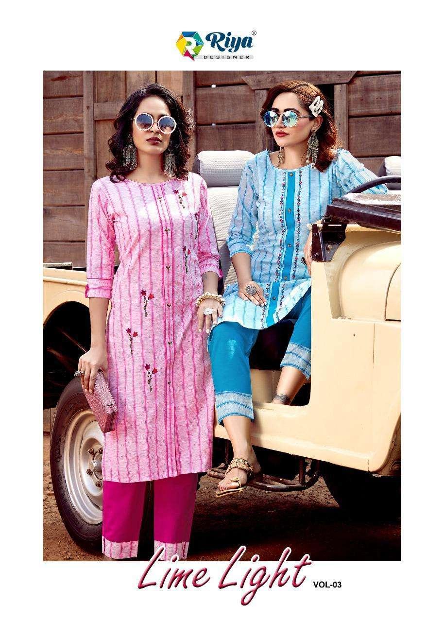Riya Designer Lime Light Vol 3 Fancy Cotton Kurti Pent Set catalog Wholesaler