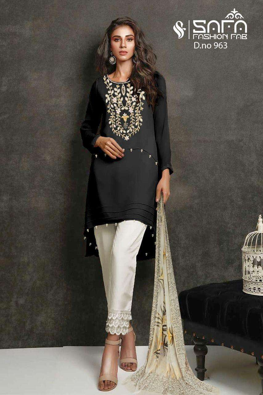 Safa Fashion Fab SF 963 Designer Formal Wear Kurti Pent Dupatta Combo Sets