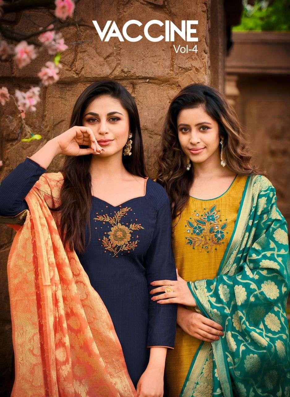 Shagun Vaccine Vol 4 Exclusive Banarasi Dupatta Casual Suit Catalog Wholesaler