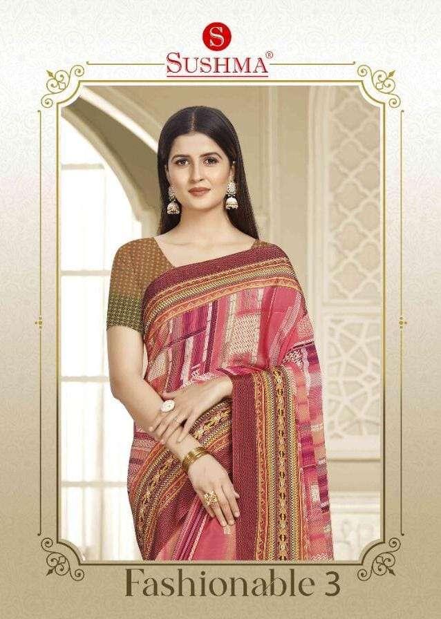 Sushma Fashionable Vol 3 Printed Crepe Saree Catalog Supplier in Surat