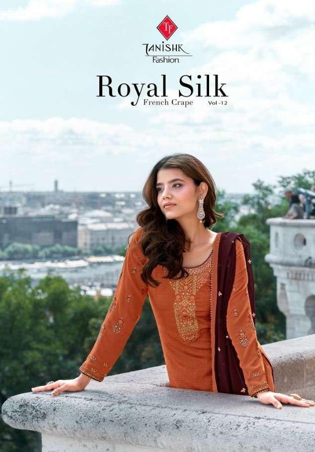 Tanishk Fashion Royal Silk Vol 12 Fancy Crepe Suit Catalog Wholesale Supplier