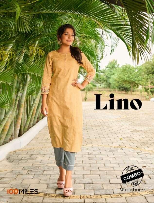 100 Miles Lino Exclusive Fancy Cotton Kurti Pent Combo Set Catalog Wholesaler