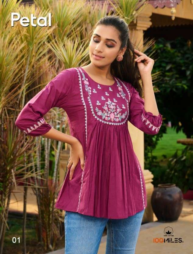 100 Miles Petal Cotton Tunics with Embroidery Work Wholesale