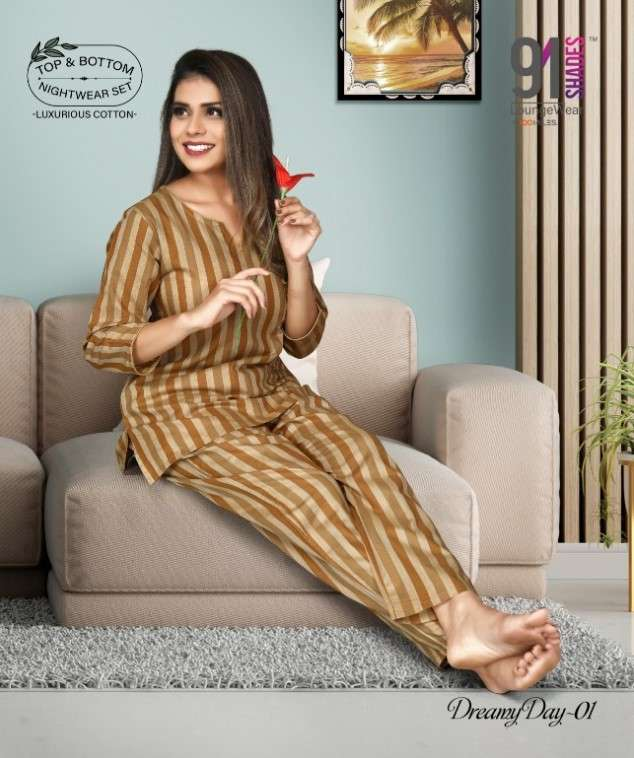 91 Shades Dreamy Day Fancy Night Launge Wear Catalog Wholesale price
