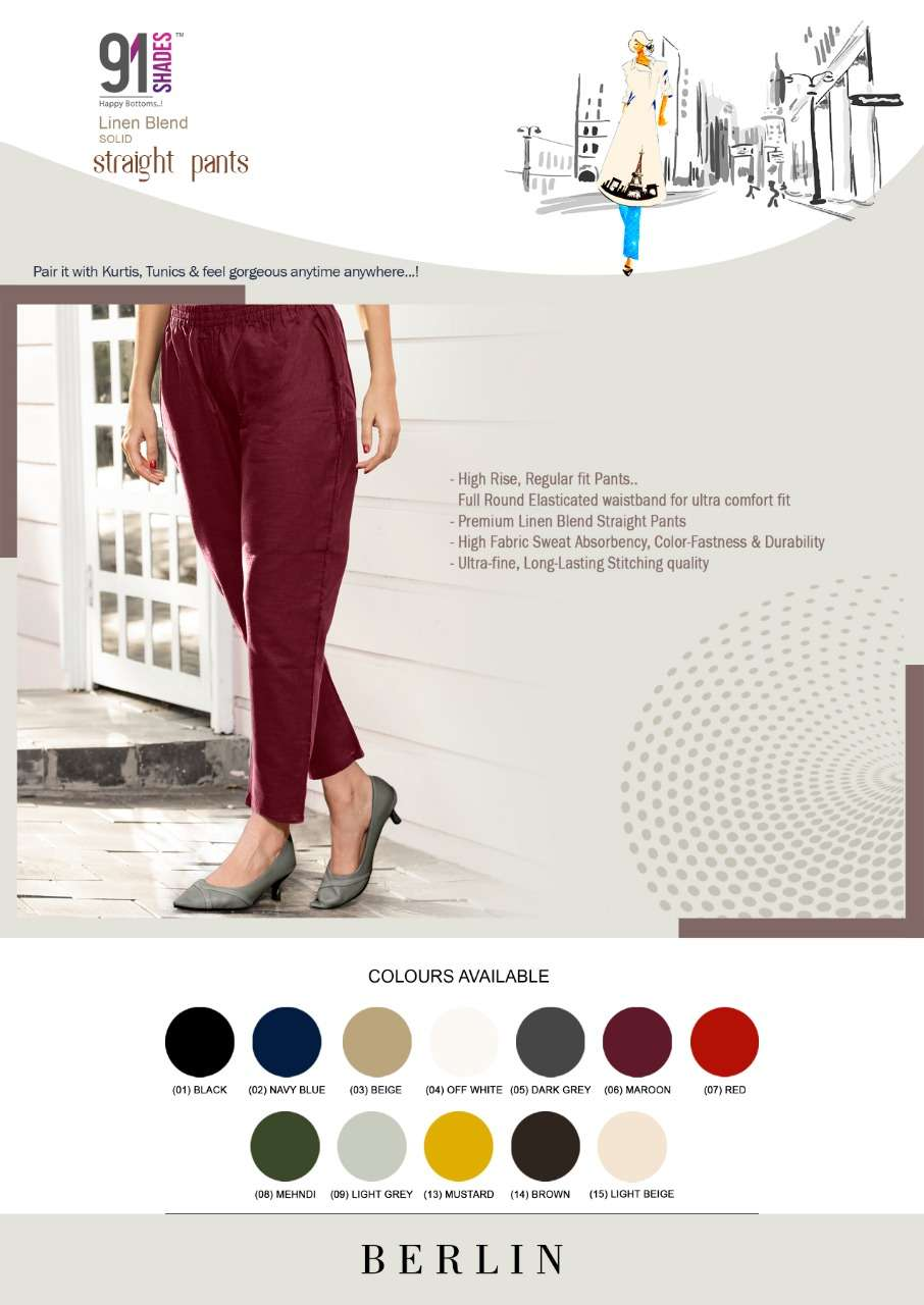 91Shades Berlin Fancy Cotton Linen Pants Catalog Supplier