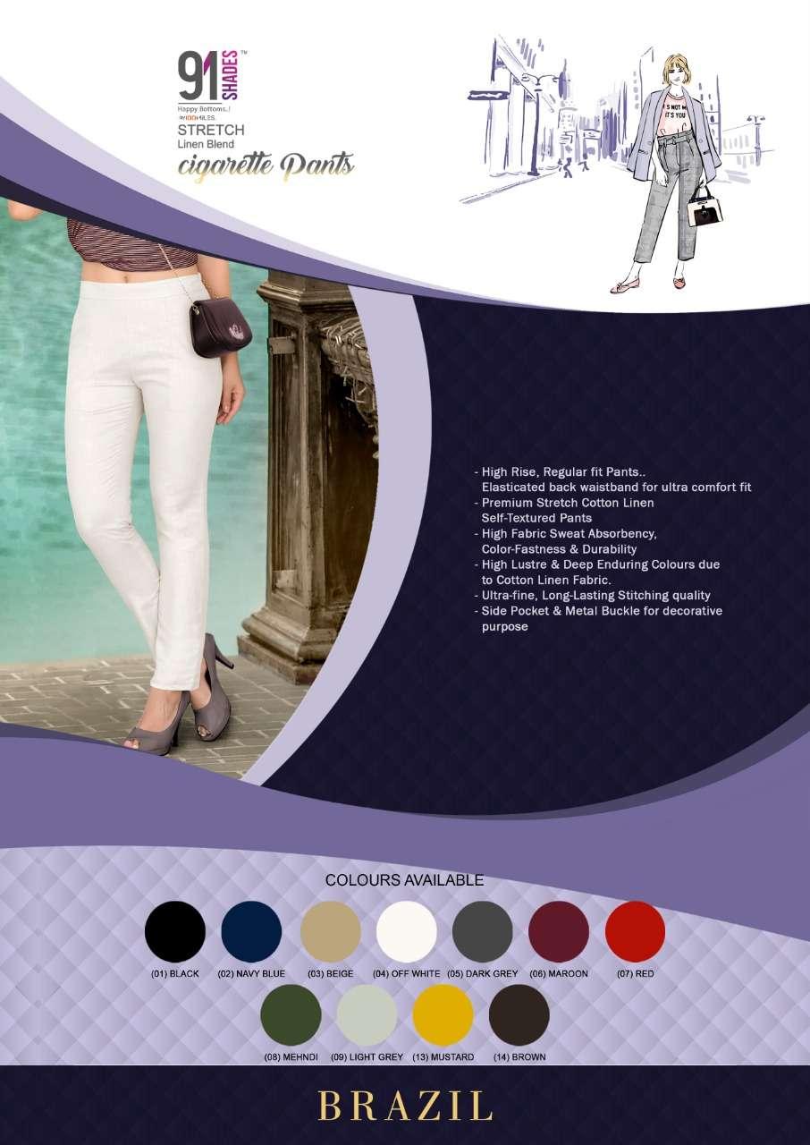 91Shades Brazil Fancy Stretchable Cotton Linen Pants Catalog Supplier