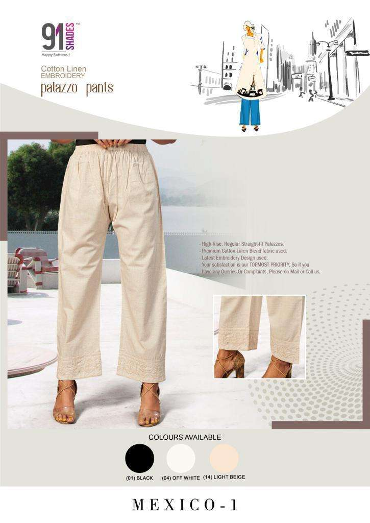 91Shades Mexico Vol 1 fancy Embroidery Plazzo Pant Collection