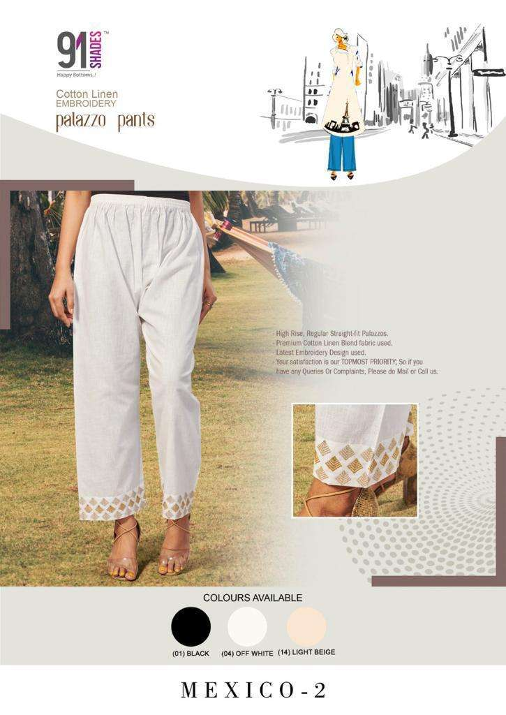 91Shades Mexico Vol 2 Stylish Embroidered Plazzo pants Collection