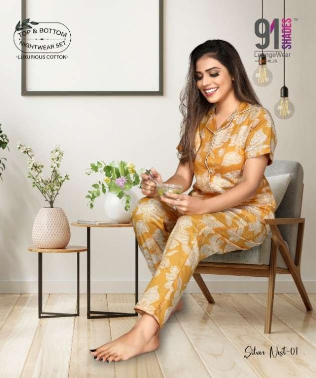 91Shades Silver Nest Fancy Stylish Night Wear Collection in Surat