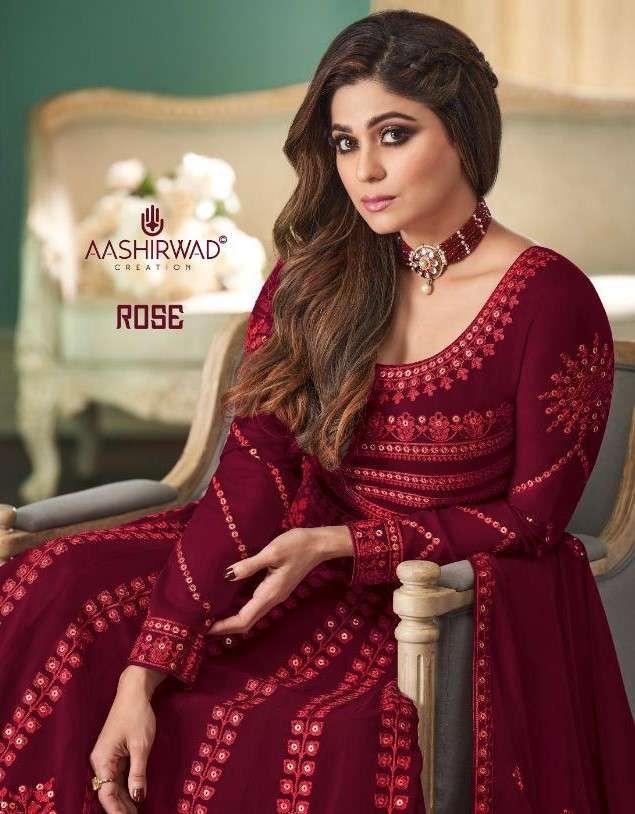 Aashirwad Rose Designer Work Anarkali Salwar Suit Catalog Wholesaler