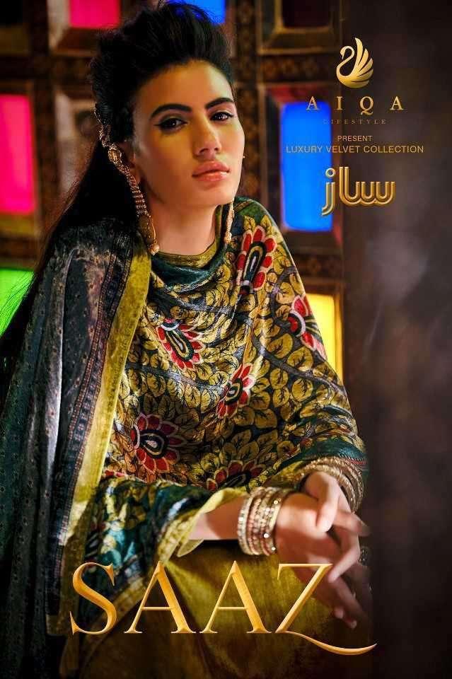 Aiqa Lifestyle Saaz Pure Velvet Designer Salwar Suit Catalog Dealer